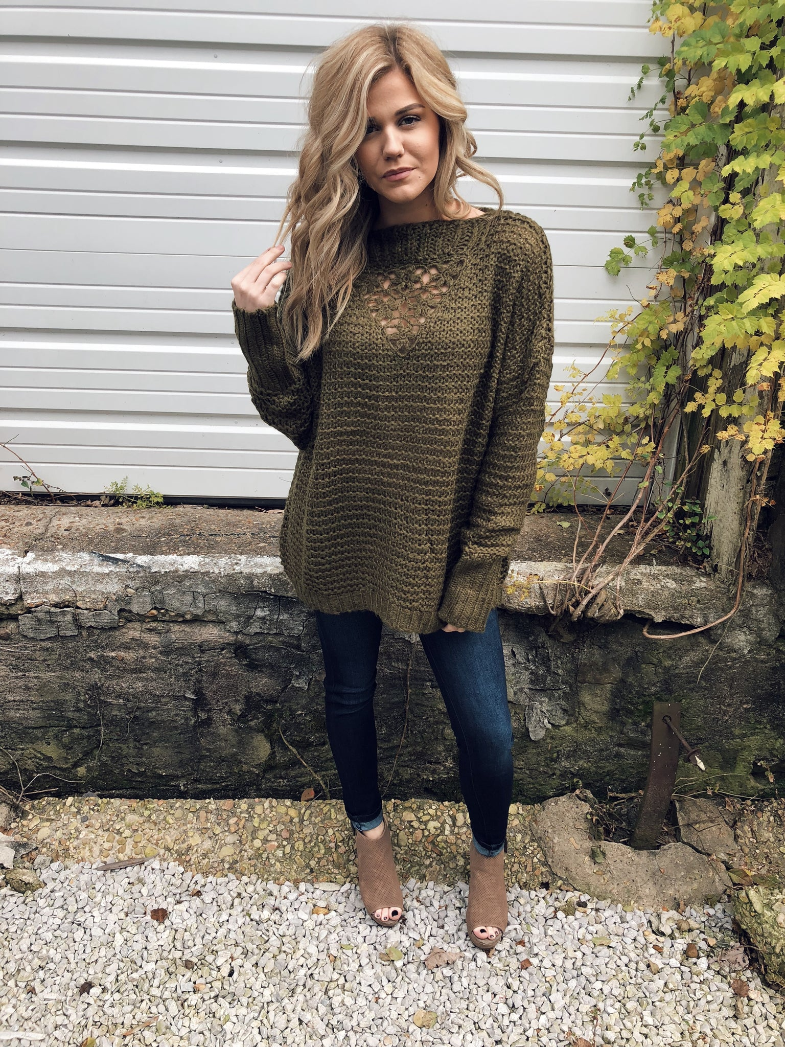 Cozy Knit Sweater in Olive
