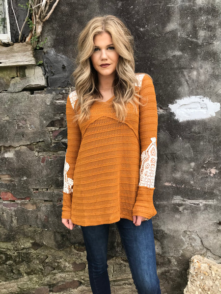 Cut the Mustard & Lace Thermal Pullover - Enclothe Boutique
