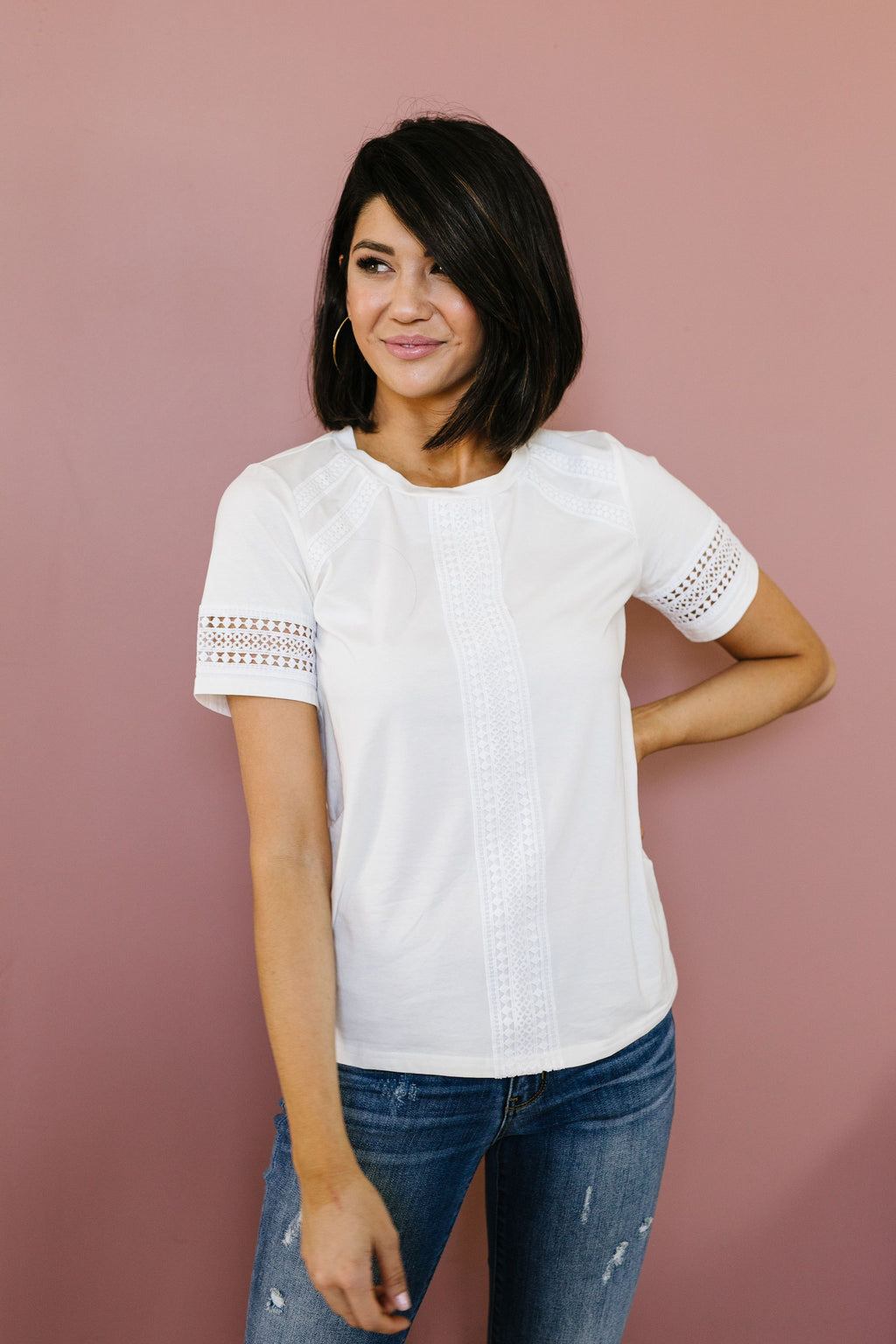 A Trace Of Lace Blouse In White SAS