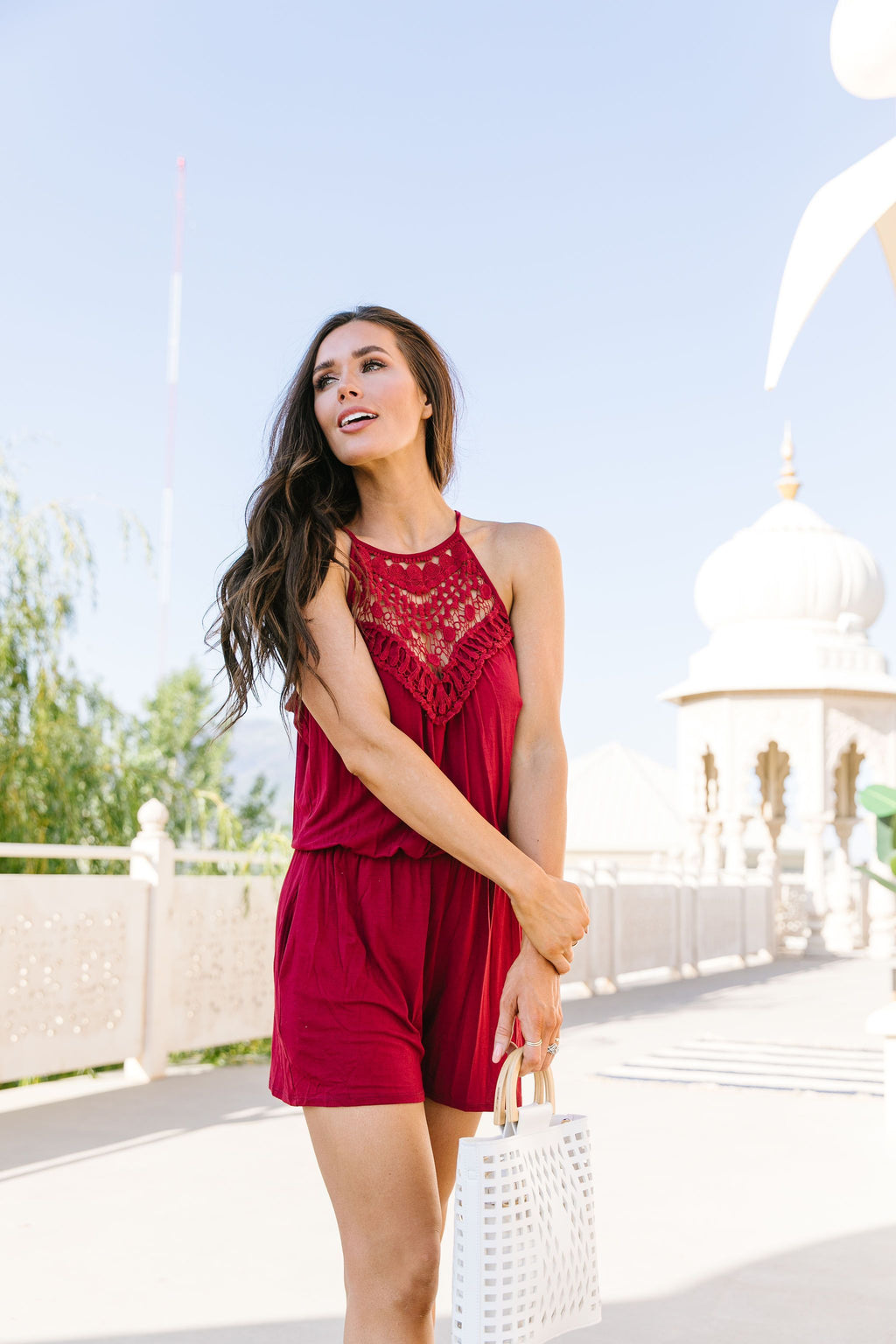 Lace Topped Romper In Wine