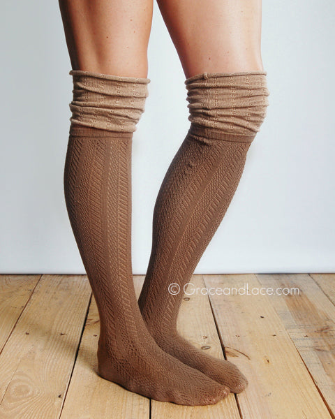 Slouchy Boot Socks in Brown - Enclothe Boutique