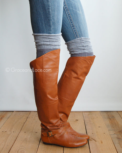 Slouchy Boot Socks in Grey - Enclothe Boutique
