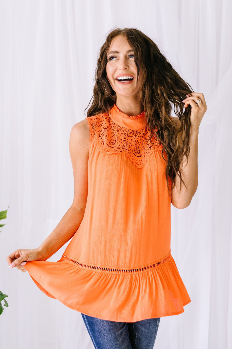 Victoria Lace Mock Neck Top In Orange SAS