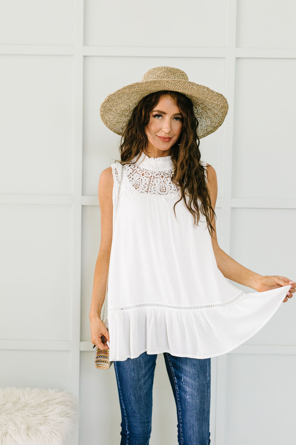 Victoria Lace Mock Neck Top In Ivory SAS