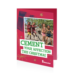 $18 can buy two bags of cement (Christmas card)