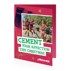 $13 can buy two bags of cement (Christmas card)