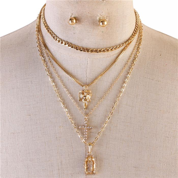 Chain Charm Multilayereds Cross Necklace Set