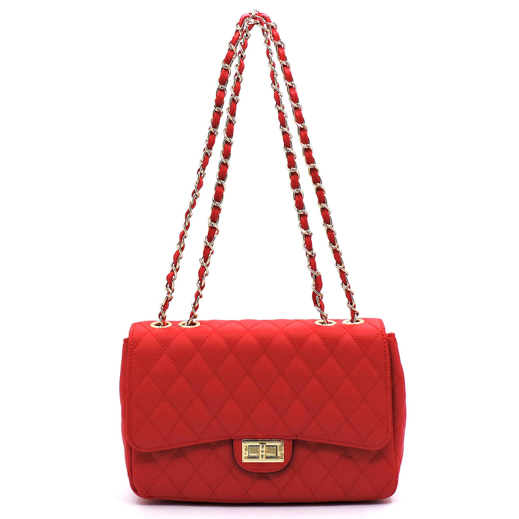 Quilted Turn-Lock 2-Way Chain Shoulder Bag