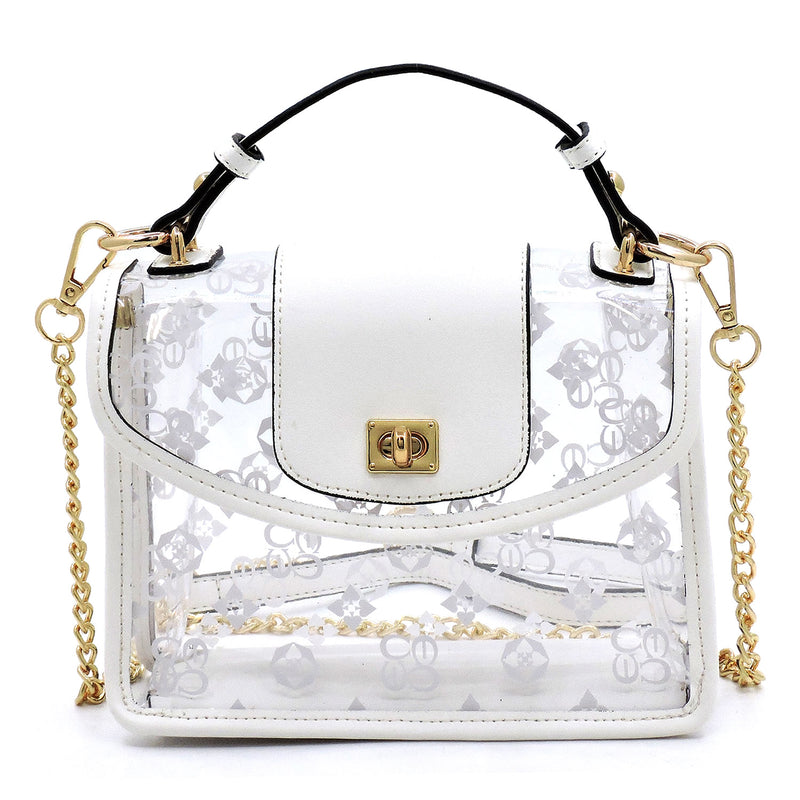 See Thru Monogram Twist Lock Crossbody Bag Satchel