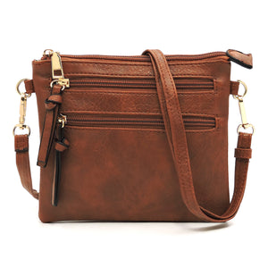 Fashion Multi Zipper Clutch Crossbody Bag