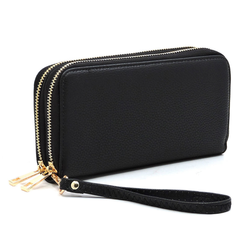 Fashion Double Zip Around Wallet Wristlet