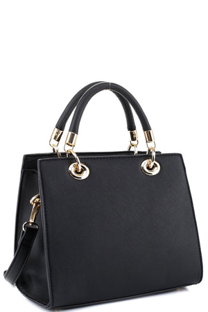 Saffiano Classy Structured 2-Way Medium Satchel