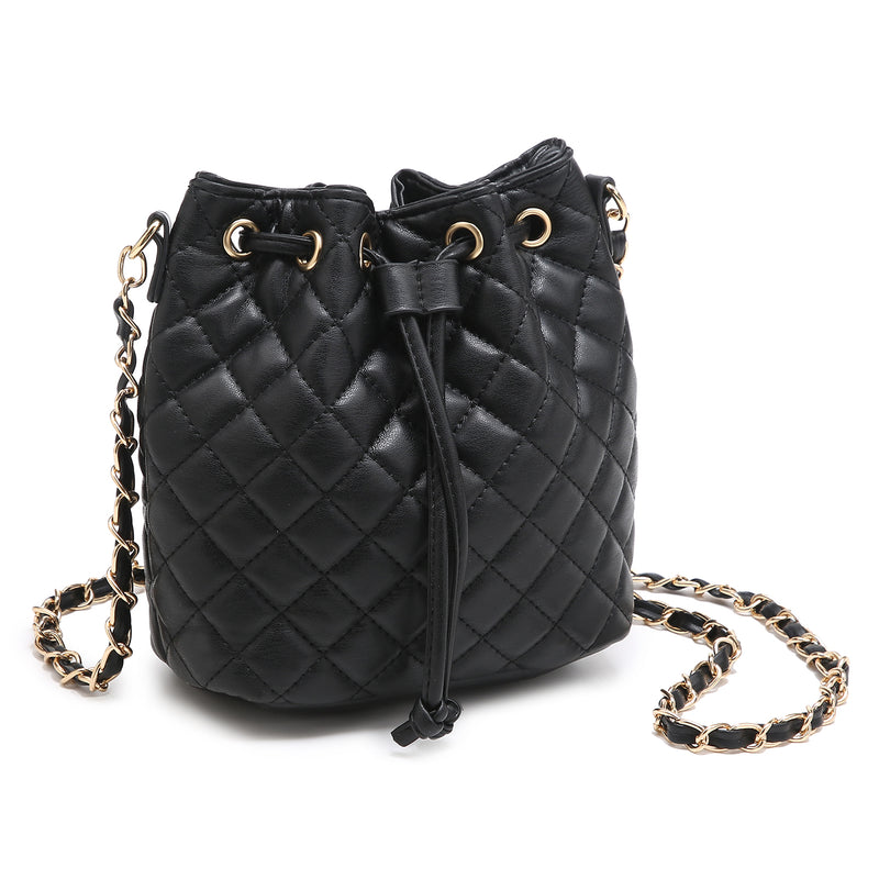 Quilted Drawstring Bucket Crossbody Bag Satchel