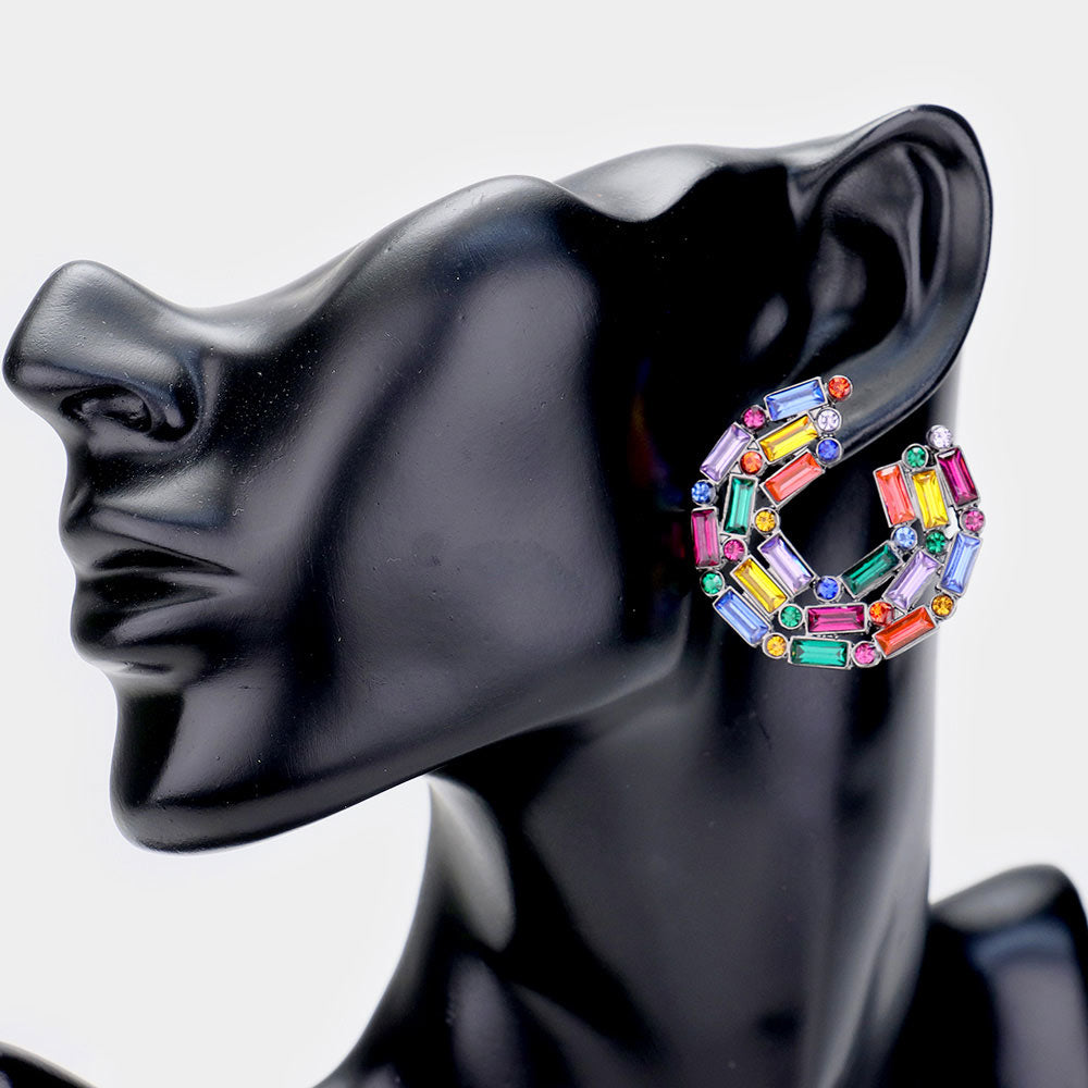 Colorful Stoned Circular Earrings