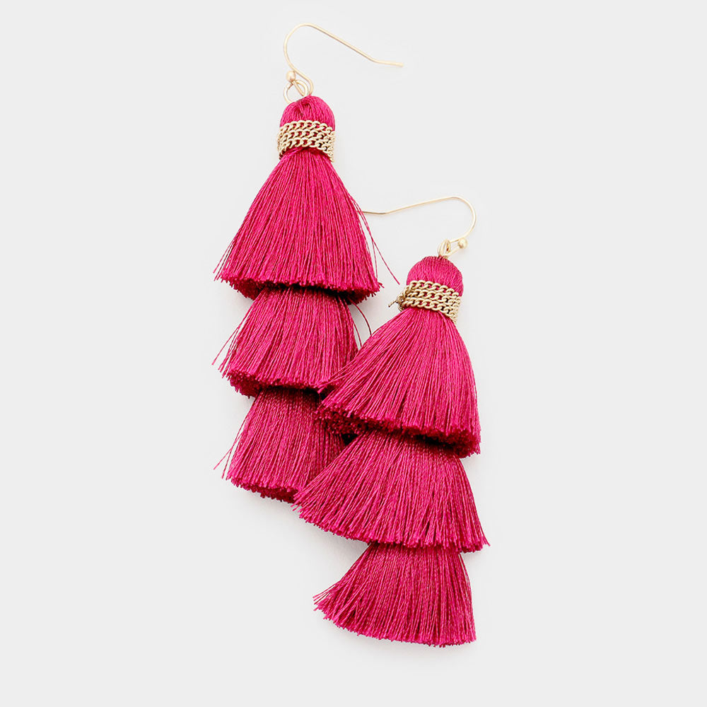 TRIPLE LAYERED THREAD TASSEL DANGLE EARRINGS