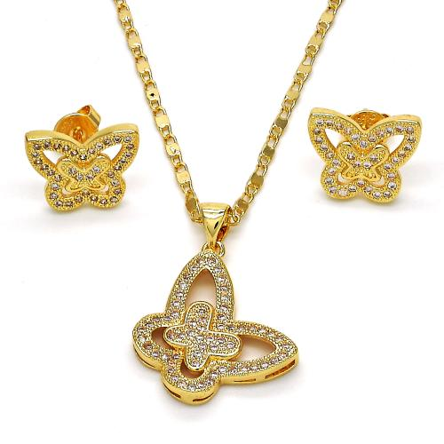 Gold Layered Butterfly Necklace Set