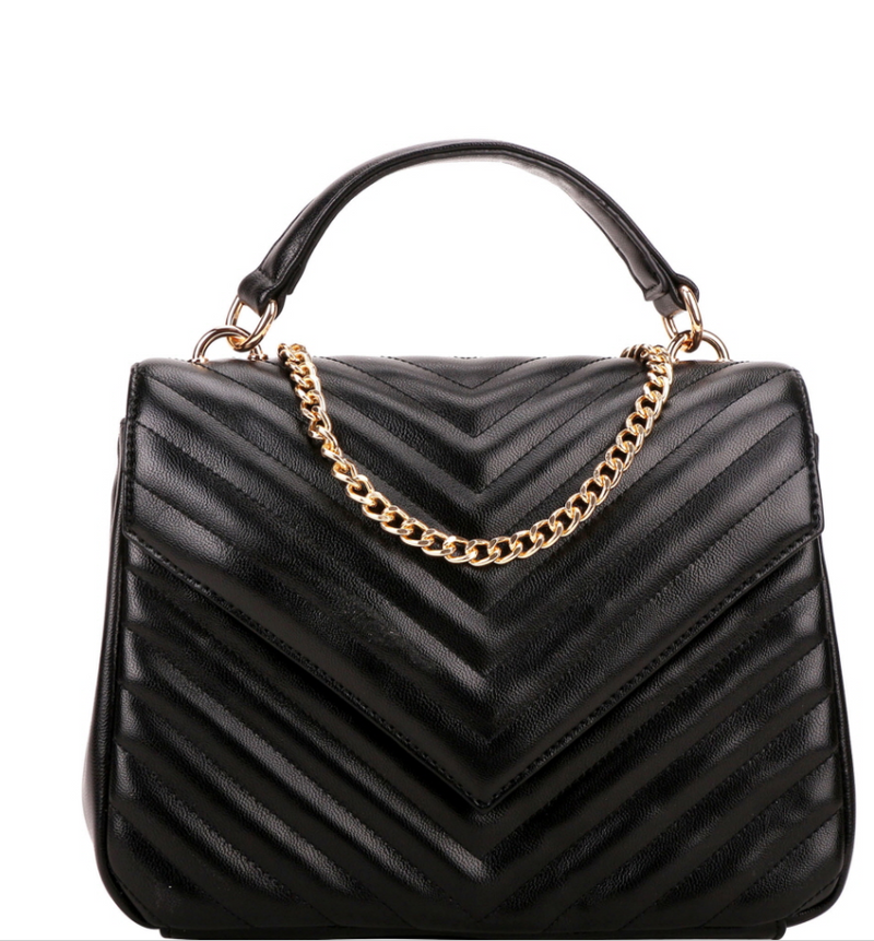Chevron Quilted Top- Handle 2-way flap satchel