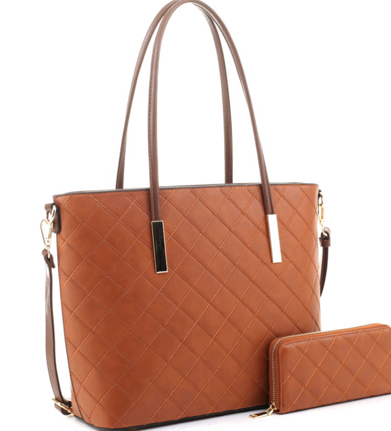 Checker Quilted Classy 2 way work tote