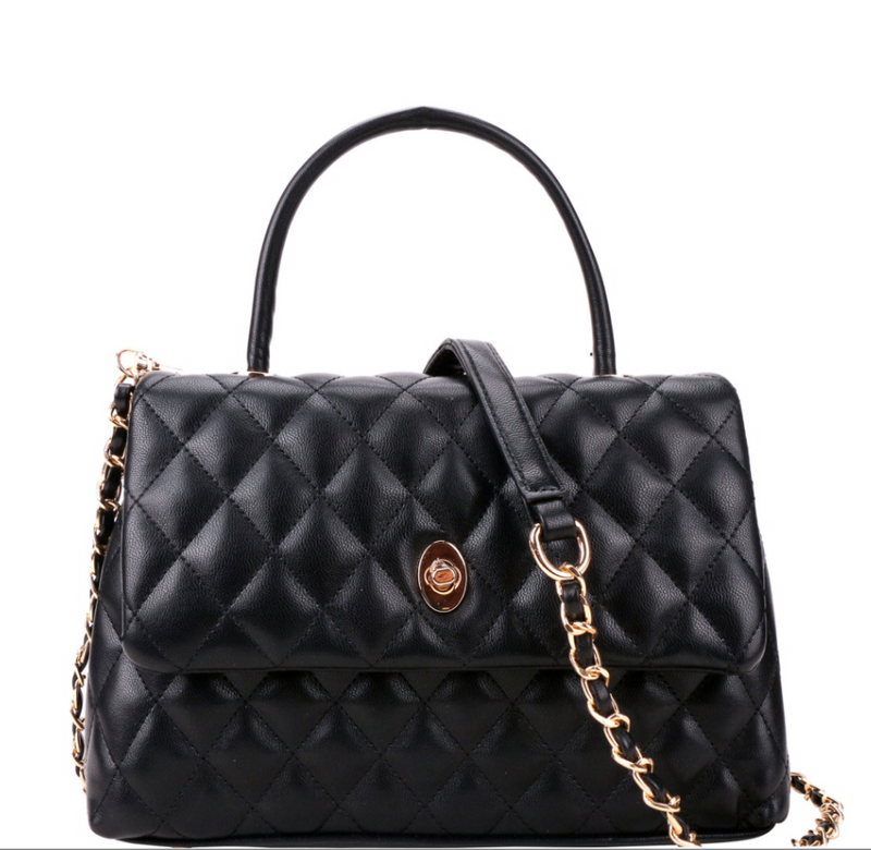 Quilted Medium Top-handle 2way flap satchel