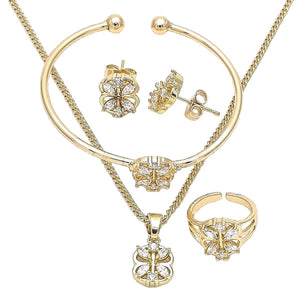 Little Girls Gold Plated Flower Set