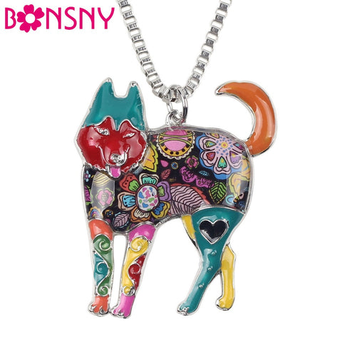 Bonsny Alloy Enamel Siberian Husky Necklace