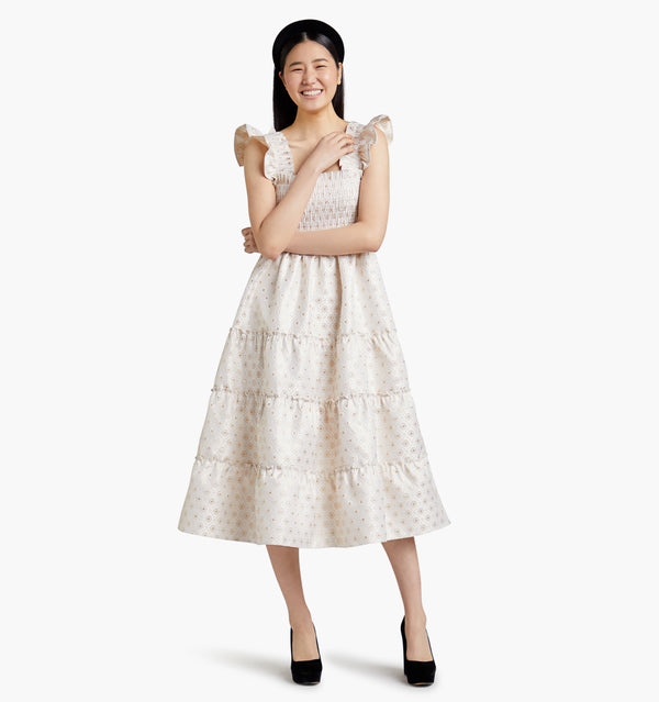 "Bomseol is 5'10"" and wears a size XS in the Gold Jacquard color:gold jacquard"
