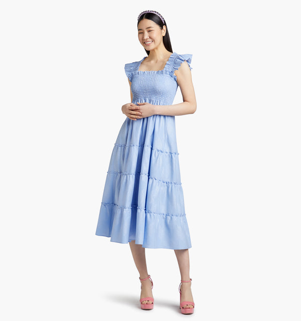 "Bomseol is 5'10"" and wears a size XS in the Light Blue Glitter Check color:light blue glitter check"