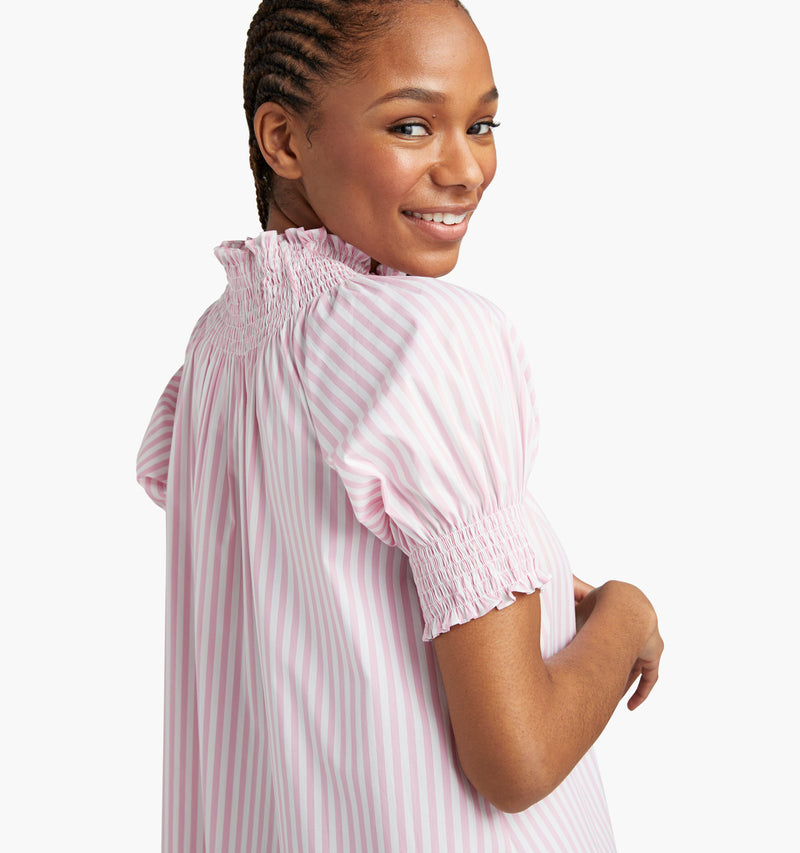 "Na'Jeen is 5'9"" and wears a size XS in the Bubblegum Stripe"
