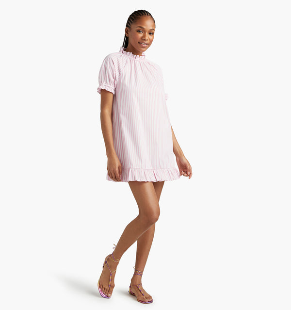 "Na'Jeen is 5'9"" and wears a size XS in the Bubblegum Stripe color:bubblegum stripe"