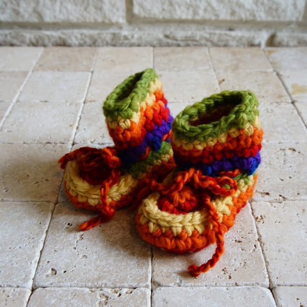 Rainbow Crochet Booties