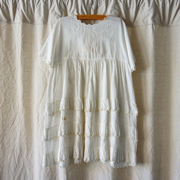 Vintage Layered White Dress - Family Store