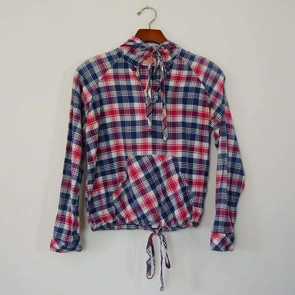 Vintage Plaid Woven Hoodie - Family Store