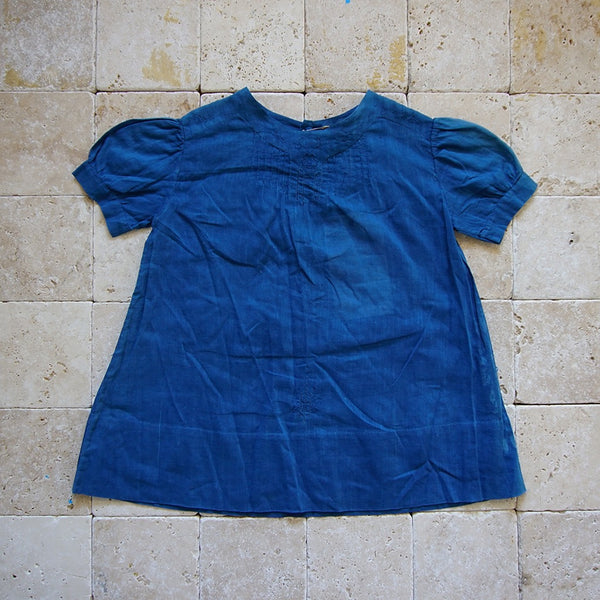 Vintage Indigo Summer Cotton Dress