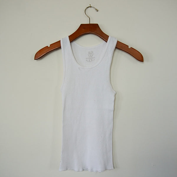 Vintage White Distressed Ribbed Tank - Family Store