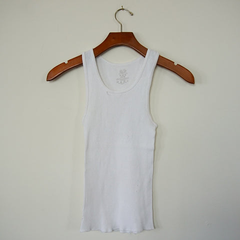 Vintage White Distressed Ribbed Tank