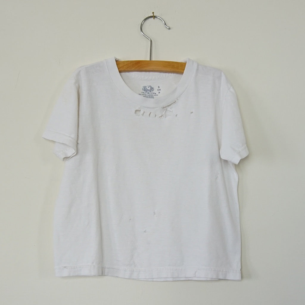 Vintage Distressed White Tee - Family Store