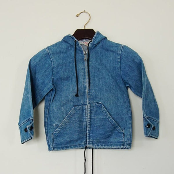 Vintage Zip Hooded Denim Jacket 2