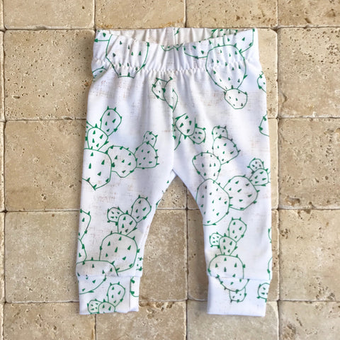 Baby Leggings in French Linen Cactus