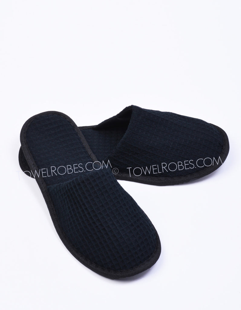 Black-Color-Waffle-Weave-Cloth-Closed-Toe-Spa-Slippers