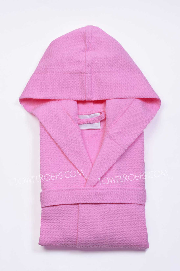 Pink-Color-Kids-Waffle-Hooded-Bathrobe-Towelrobes