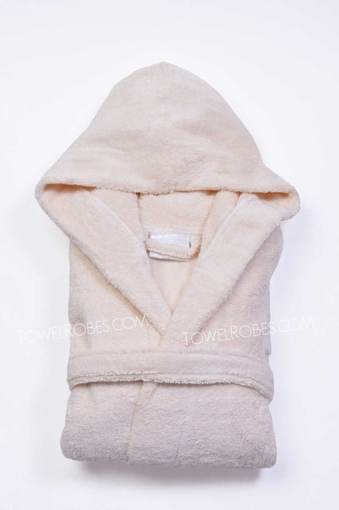 Beige-Color-Kids-Terry-Cloth-Hooded-Bathrobe