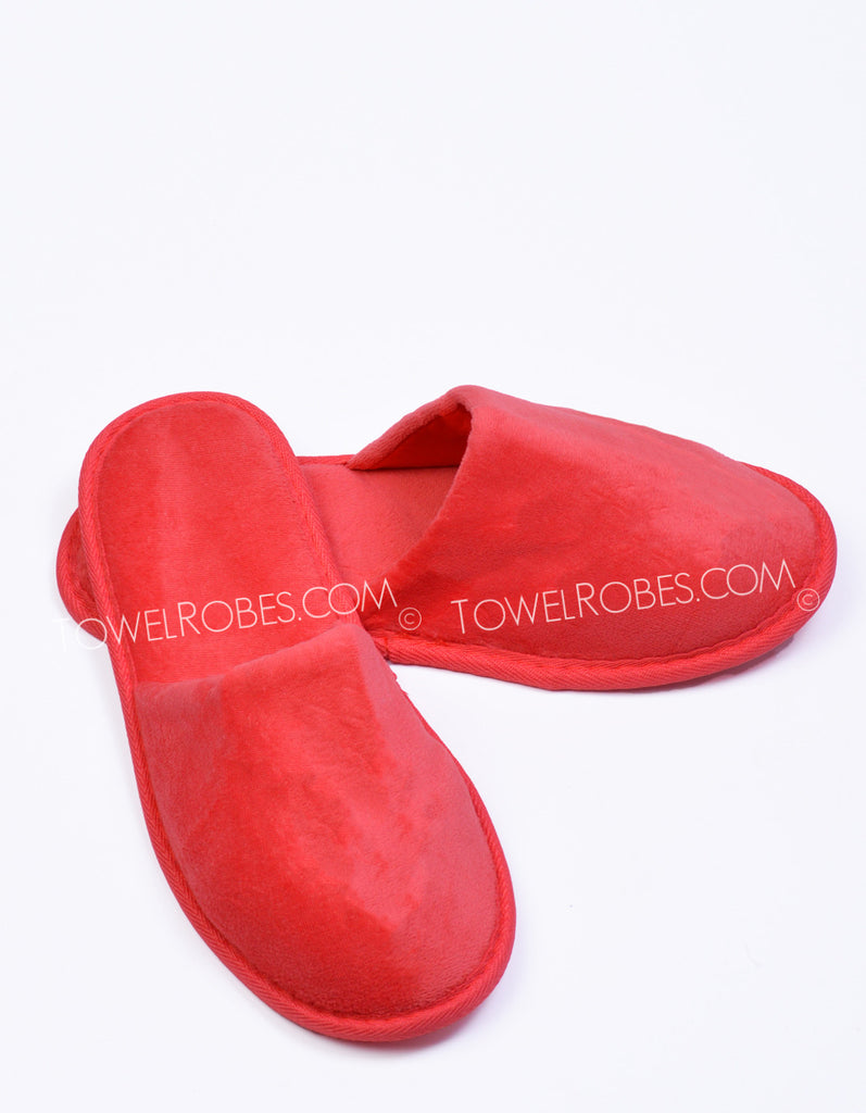 Towelrobes-Terry-Cloth-Closed-Toe-Slippers-Red-Color