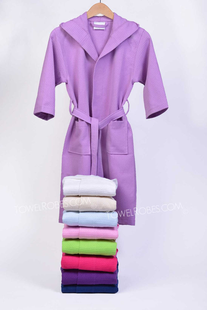Wholesale-Kids-Waffle-Hooded-Bath-Robe-with-9-Colors