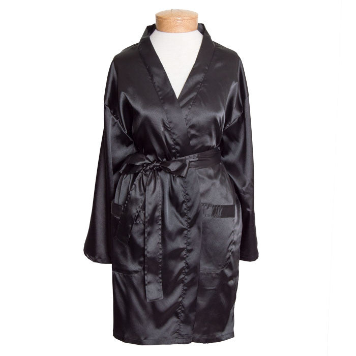 Women's Thigh Length Satin Robes Black