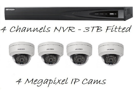 "NESS HIKVISION ""Master Surveillance"" 4 Channel IP NVR + 4 Onvif IP Cameras Indoor/Outdoor Kit"