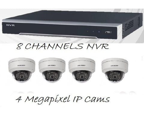 "NESS HIKVISION ""Master Surveillance"" 8 Channels IP NVR + 4 MP IPDome Cameras Indoor/Outdoor Kit"
