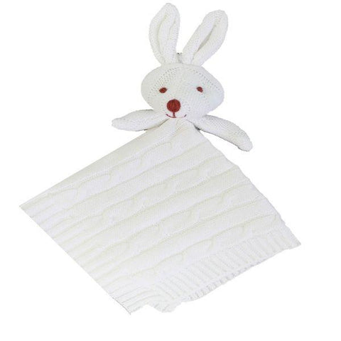 Baby Mode Cable Knit Lovey Bunny White