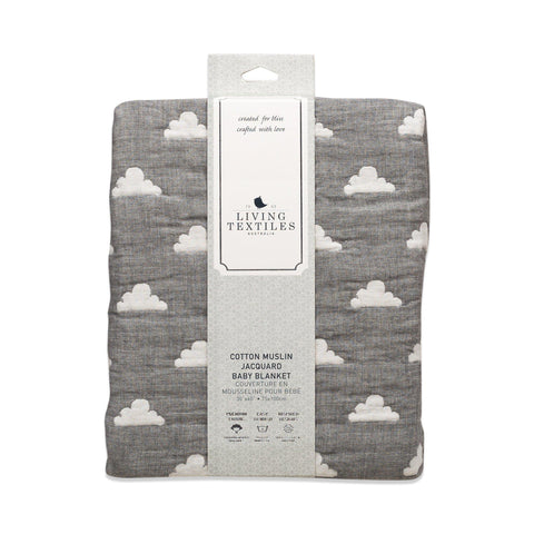 Living Textiles Muslin Jacquard Blanket Grey Cloud