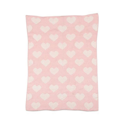 Living Textiles Chenille Baby Blanket Pink Hearts