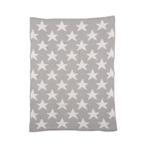 Living Textiles Chenille Baby Blanket Grey Stars